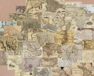 Vintage Maps 64 darabos Tapéta