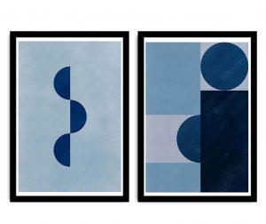Blue Geometric 2 db Kép 36x51 cm