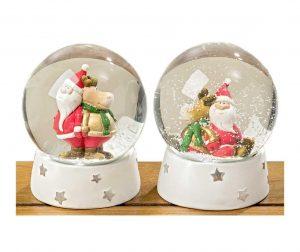 Waterglobe Santa and Elk 2 db Dísztárgy
