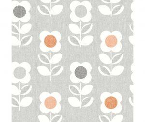 Retro Floral Grey and Orange Tapéta 53x1005 cm