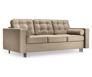 Palais Velvet Beige and Black Chrome Háromszemélyes kihúzható kanapé