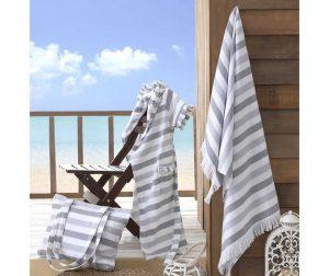 Stripe Grey Fürdőköppeny strand táskával és törölközővel