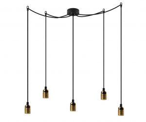 Long Uno Five Black Brass Mennyezeti lámpa